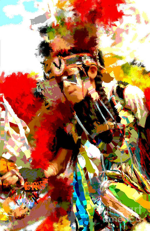 Native American Dancer Art Print featuring the painting Native American Dancer-1 by Susan Holsan