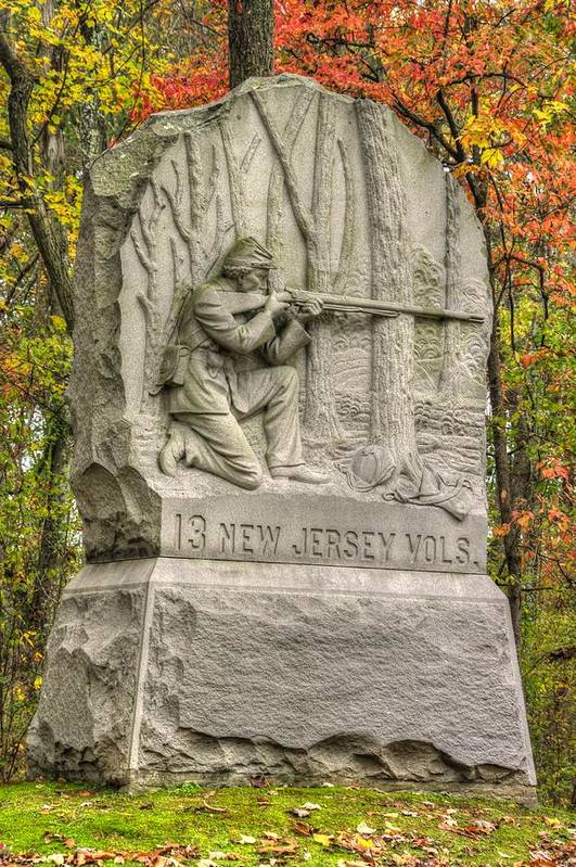 Civil War Art Print featuring the photograph New Jersey At Gettysburg - 13th Nj Volunteer Infantry Near Culps Hill Autumn by Michael Mazaika