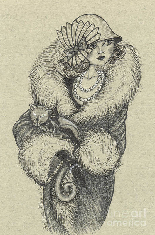 Drawing Art Print featuring the drawing Old-fashioned by Snezana Kragulj