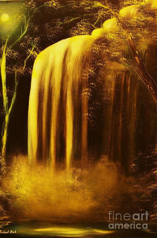 Waterfall Art Print featuring the painting Moon Shadow Waterfalls- Original Sold - Buy Giclee Print Nr 30 Of Limited Edition Of 40 Prints  by Eddie Michael Beck