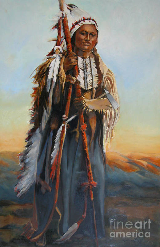 American Indian Portrait Art Print featuring the painting Powderface by Synnove Pettersen