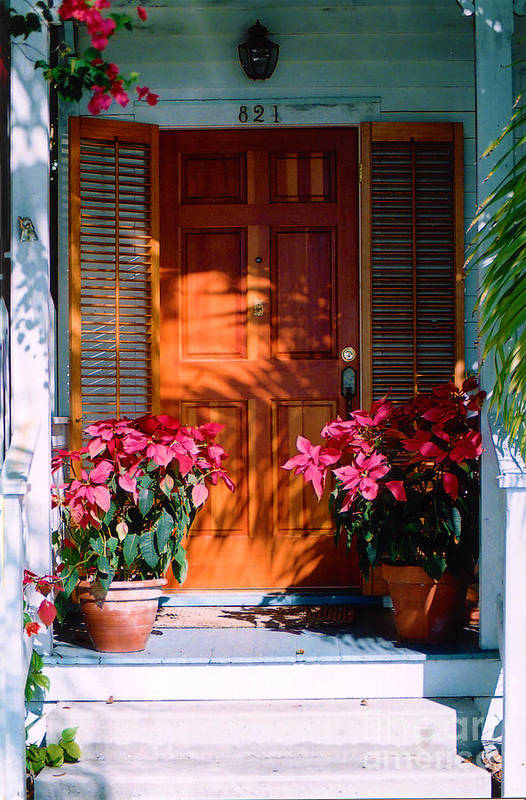 House Art Print featuring the photograph Pretty House Door In Key West by Susanne Van Hulst