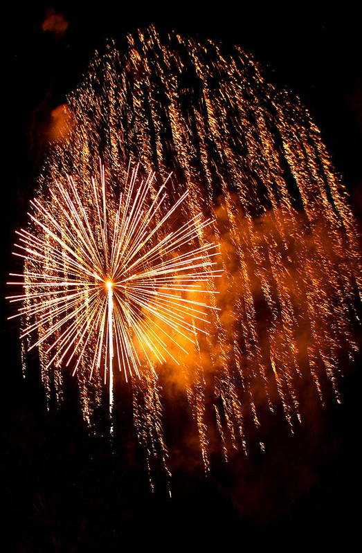 Fire Works Art Print featuring the photograph Rain Down On Me by Angie Wingerd