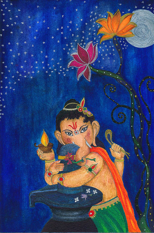Ganesha Art Print featuring the painting Ganesha 2 by Self Expressions