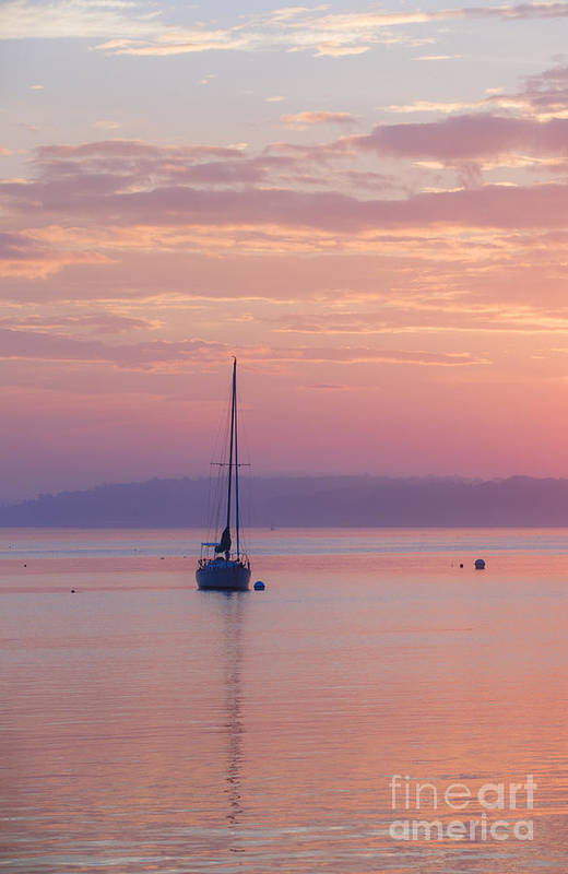 Sailboat Print featuring the photograph Sailboat At Sunrise In Casco Bay Maine by Diane Diederich