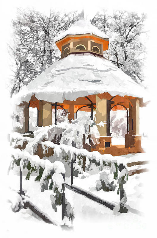 Greensboro Art Print featuring the painting Snowy Gazebo - Greensboro North Carolina II by Dan Carmichael