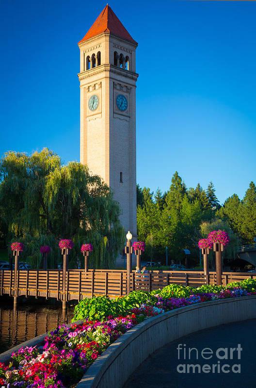 America Art Print featuring the photograph Spokane Clocktower by Inge Johnsson