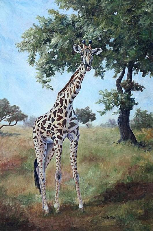 Giraffe Art Print featuring the painting Standing Tall by Brenda Thour