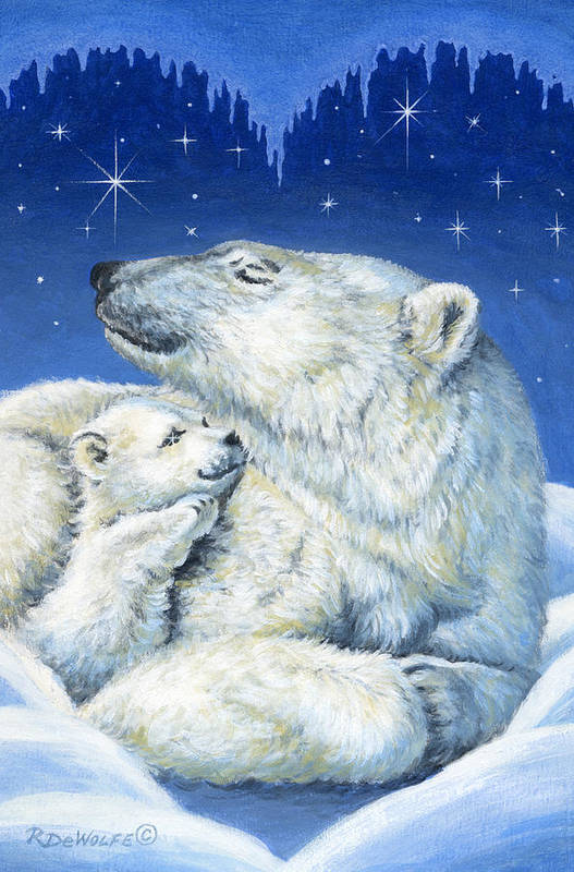 Winter Art Print featuring the painting Starry Night Bears by Richard De Wolfe