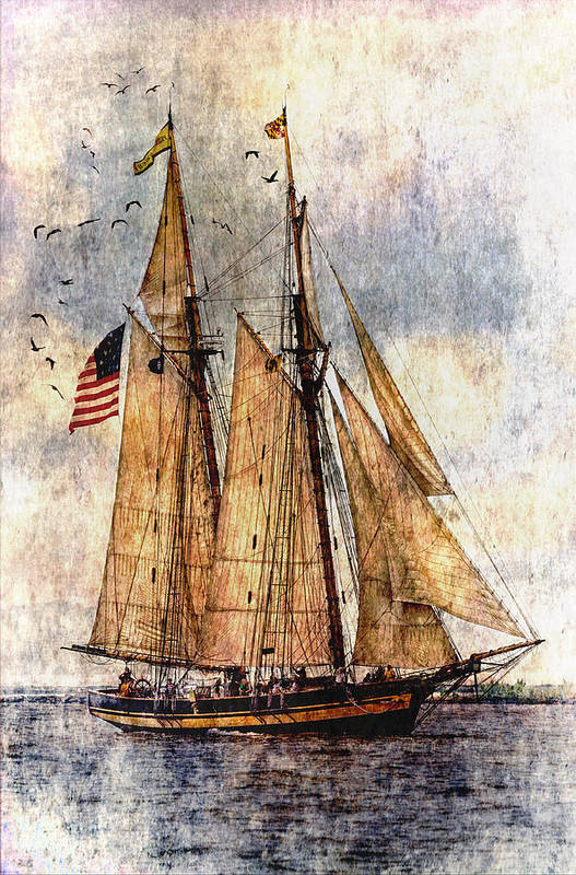 Pride Of Baltimore Ii Art Print featuring the digital art Tall Ships Art by Dale Kincaid