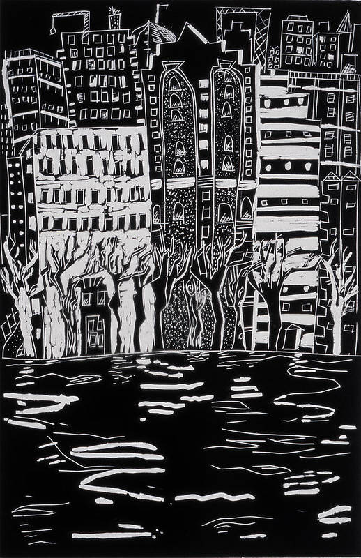 Print Art Print featuring the painting Thames In Winter by Hilary Rosen