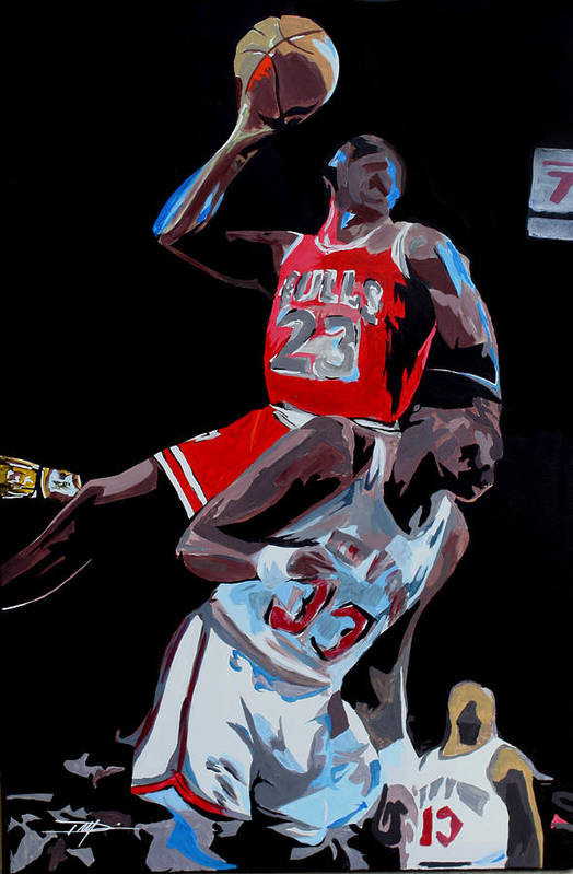 Michael Jordan Art Print featuring the drawing The Dunk by Don Medina