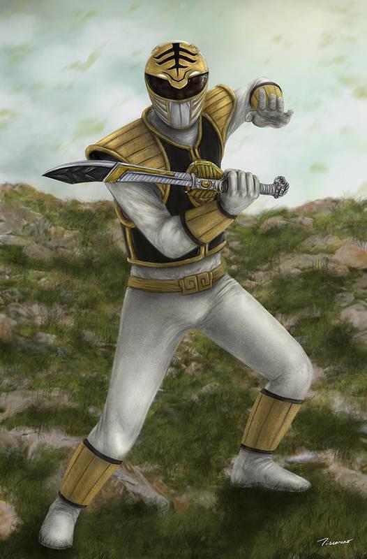 Power Rangers Art Print featuring the digital art The White Ranger by Michael Tiscareno