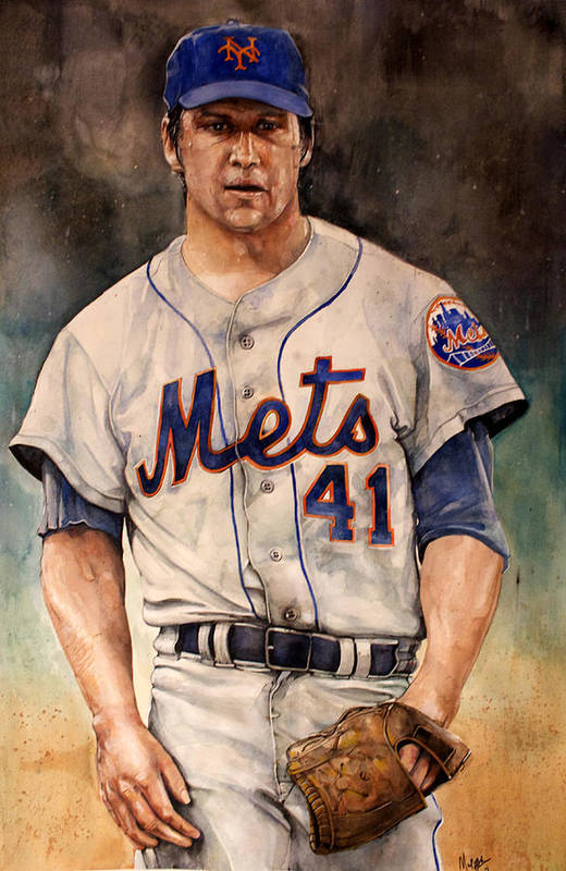 Tom Print featuring the painting Tom Seaver by Michael Pattison