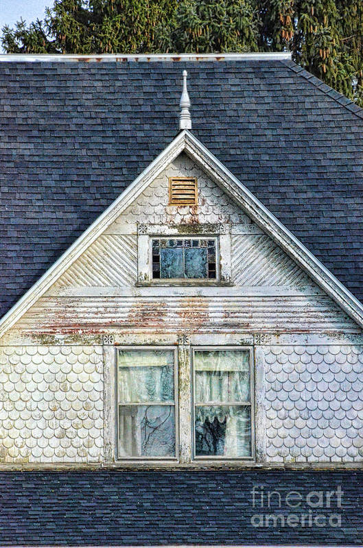 House Print featuring the photograph Upstairs Windows In Old House by Jill Battaglia