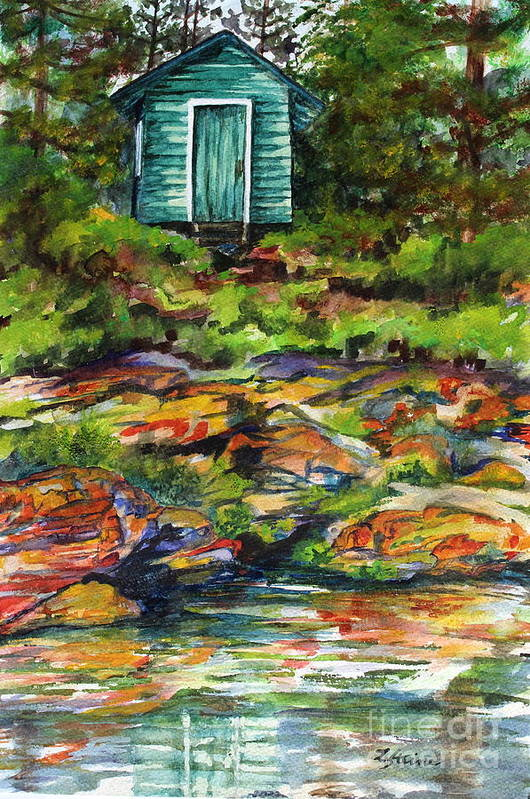 Outhouse Art Print featuring the painting What A View by Linda Steine