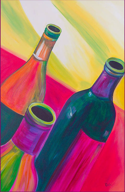 Wine Art Print featuring the painting Wine Bottles by Debi Starr