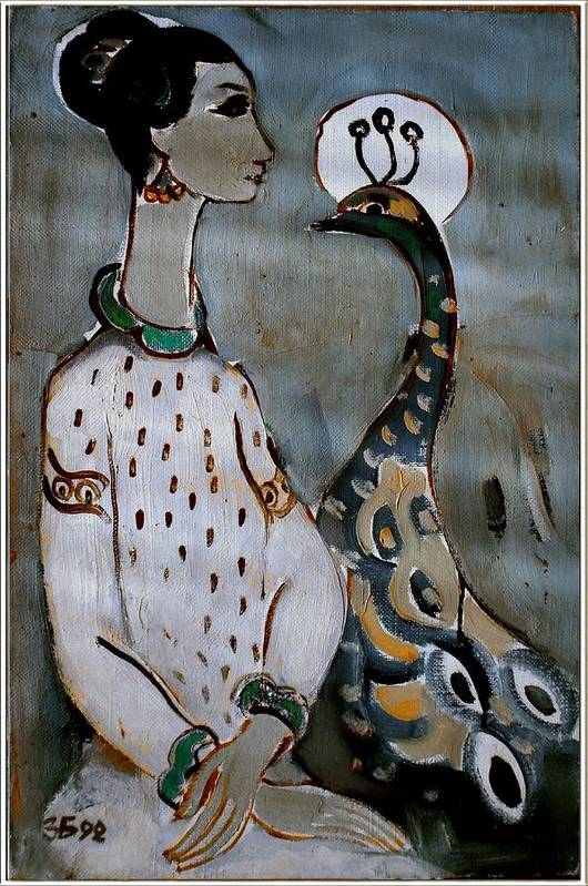 Modern Painting Art Print featuring the painting Woman With Peacock by Zdravko Batembergski