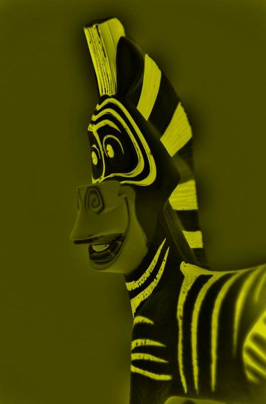 Zebra Art Print featuring the photograph Yellow Zebra by Rob Hans