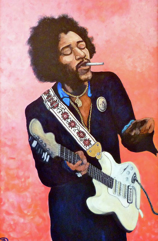 Jimi Hendrix Art Print featuring the painting You Got Me Floating by Tom Roderick