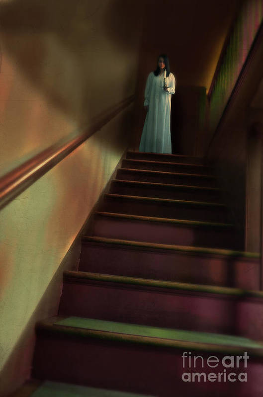 Woman Art Print featuring the photograph Young Woman In Nightgown On Stairs by Jill Battaglia