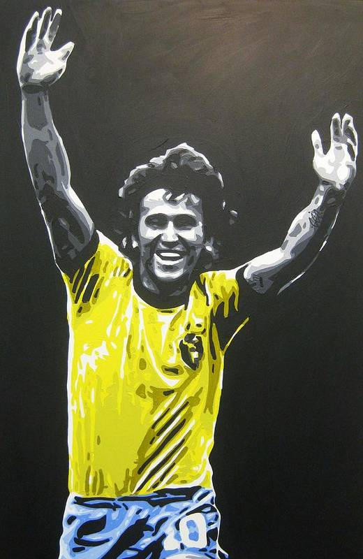 Zico Art Print featuring the painting Zico - Brazil by Geo Thomson
