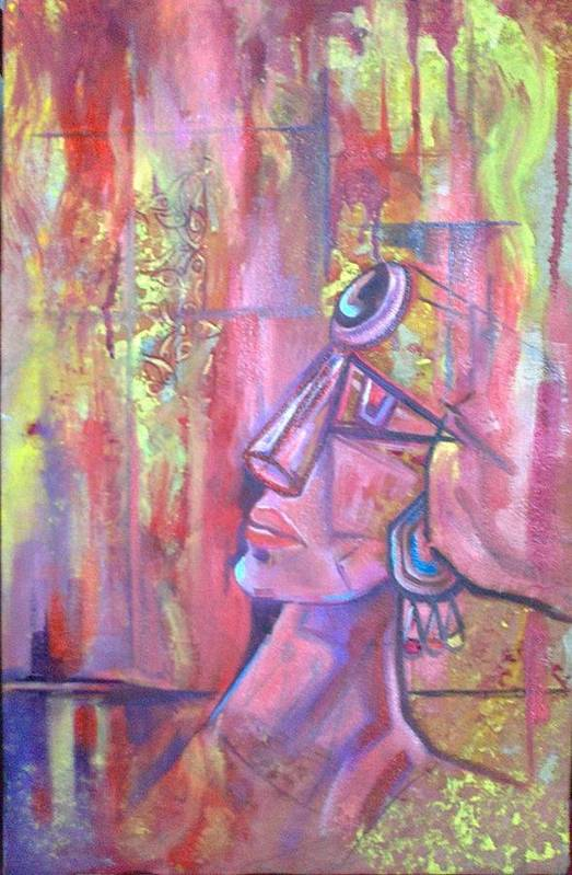 Abstract Art Print featuring the painting Abstract by Fariha Rashid