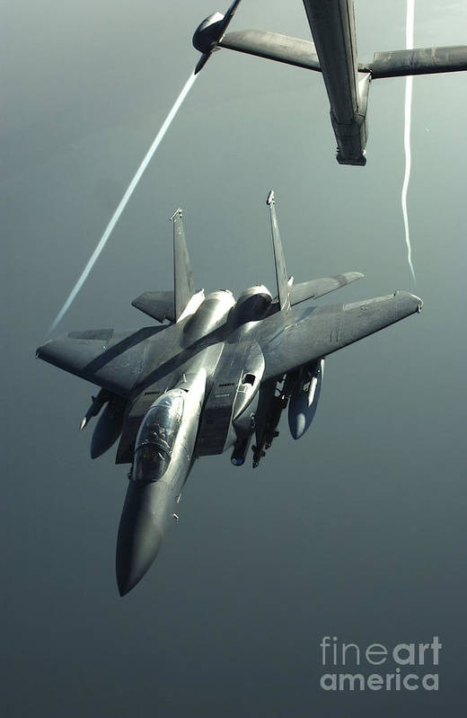Color Image Art Print featuring the photograph An F-15e Strike Eagle Flies Over Iraq by Stocktrek Images
