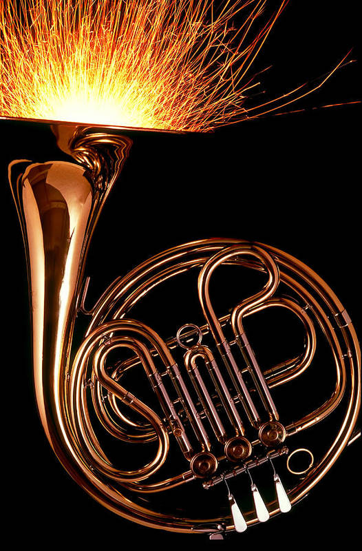 French Art Print featuring the photograph French Horn With Sparks by Garry Gay