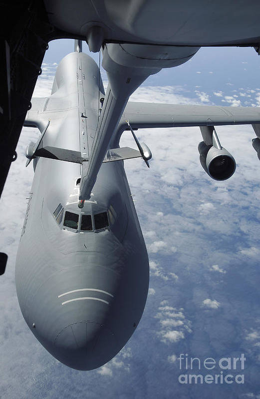 Aerial Art Print featuring the photograph A Kc-10 Extender Prepares To Refuel by Stocktrek Images