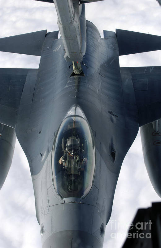 Vertical Art Print featuring the photograph An F-16 Fighting Falcon Receives Fuel by Stocktrek Images