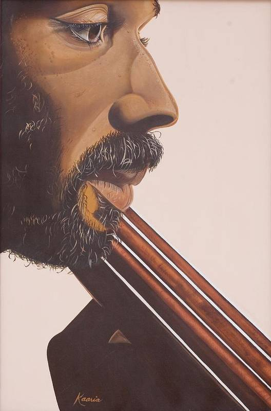 Playing; Musician; Player; African-american; Music; Male; Portrait; Close-up; Moustache; Beard; Profile; Musical Instruments; Double Bass; African American; Black Art; Bass Art Print featuring the painting Bass Player Iv by Kaaria Mucherera