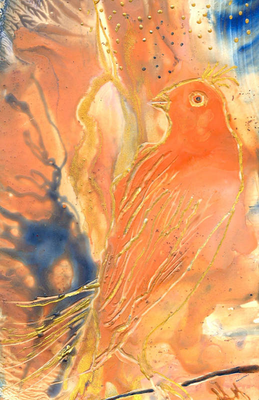 Bird Art Print featuring the painting Bird Story by Heather Hennick