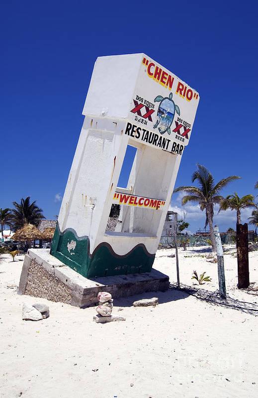 Cozumel Art Print featuring the photograph Chen Rio Beach Bar Sign Cozumel Mexico by Shawn O'Brien