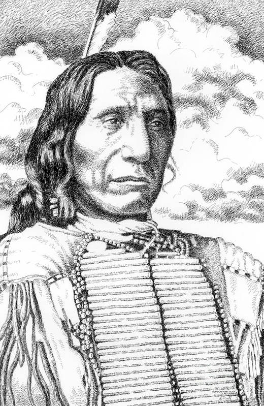 Jim Bridger Art Print featuring the drawing Chief-red-cloud by Gordon Punt