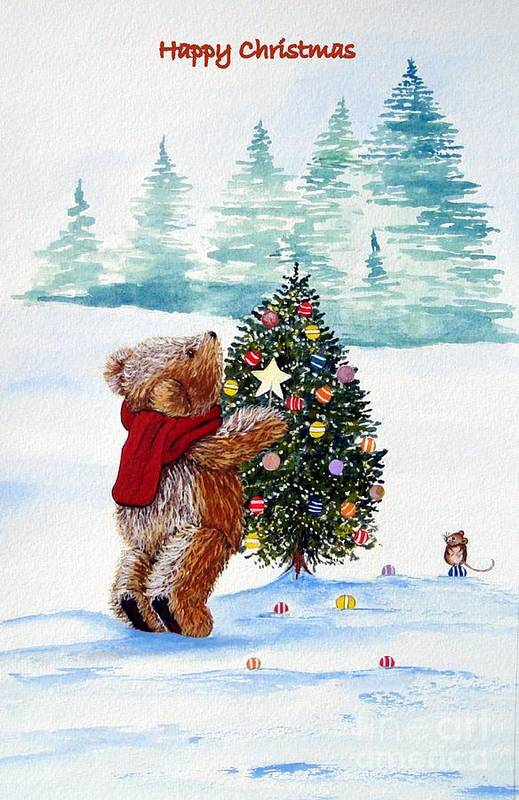 Teddy Bear. Christmas.snow.mouse.xmas.farther Christmas.christmas Trees.holiday.fall.santa Clause.bear.star.balls.bear.happy.scarf.snow Scene.in God We Trust.its A Wonderful Life.miracle On 34th Street.home Aloan.white Christmas.holly.ivy.berries.jesus Birthday. A Christmas Carol.scrouge.humbug.crackers.bells.turkey.sprouts.mulled Wine.decorations.yule Log.wreath.family. Print featuring the painting Christmas Star by Gordon Lavender