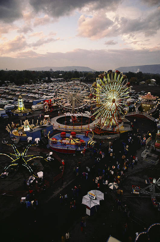Amusement Parks And Rides Art Print featuring the photograph County Fair, Yakima Valley, Rides by Sisse Brimberg