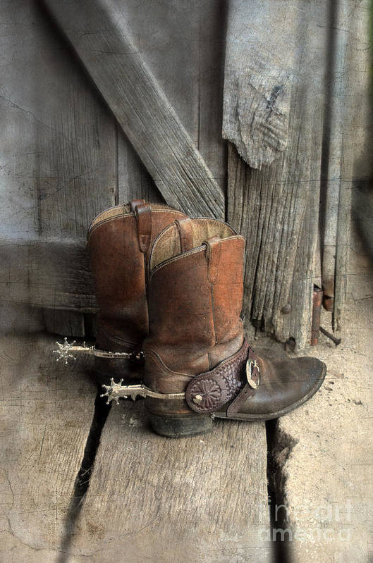 Cowboy Boots Art Print featuring the photograph Cowboy Boots With Spurs by Jill Battaglia