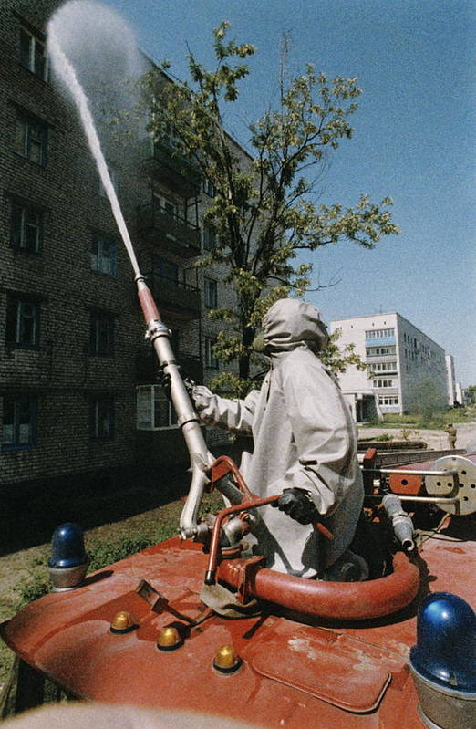 Building Art Print featuring the photograph Decontamination In Chernobyl, Ukraine by Ria Novosti