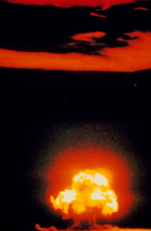 Atomic Bomb Explosion Art Print featuring the photograph Fireball & Cloud After 1st Atomic Bomb Detonation by U.s. Army.