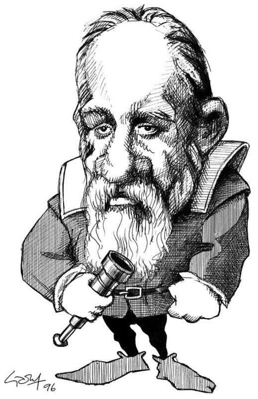 Galileo Galilei Art Print featuring the photograph Galileo Galilei, Caricature by Gary Brown