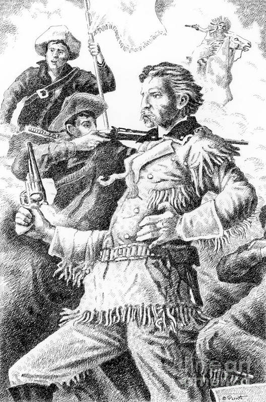 Jim Bridger Art Print featuring the drawing General Custer's Last Stand by Gordon Punt