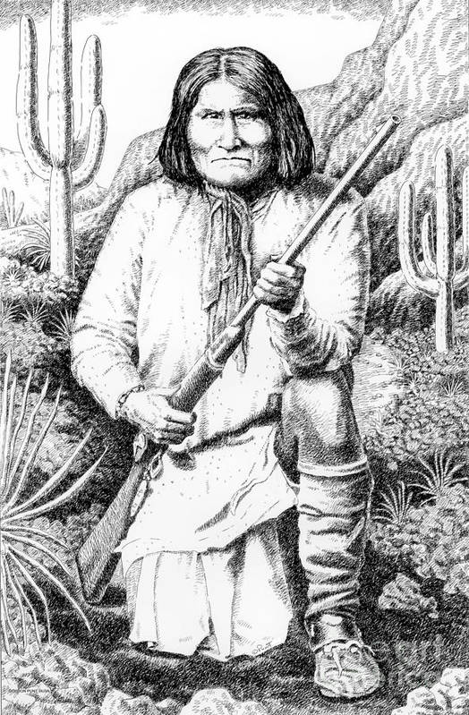 Jim Bridger Art Print featuring the drawing Geronimo by Gordon Punt