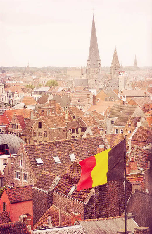 Vertical Art Print featuring the photograph Ghent From Above by photo by Stefanie Senholdt
