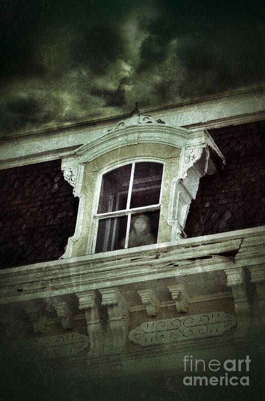 House Art Print featuring the photograph Ghostly Girl In Upstairs Window by Jill Battaglia