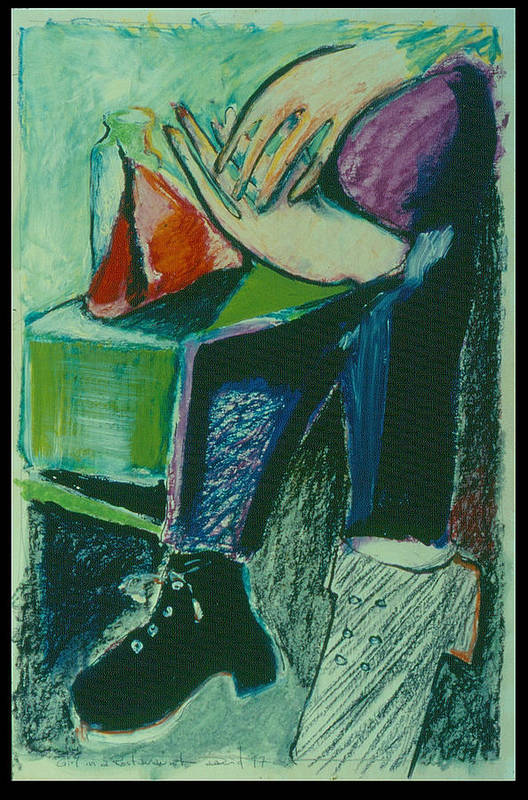 Portrait Art Print featuring the painting Girl In A Restaurant by David Martin