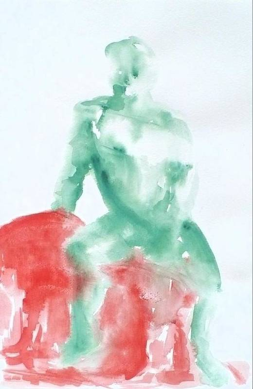 Green Art Print featuring the painting Green Figure by Diana Ogaard