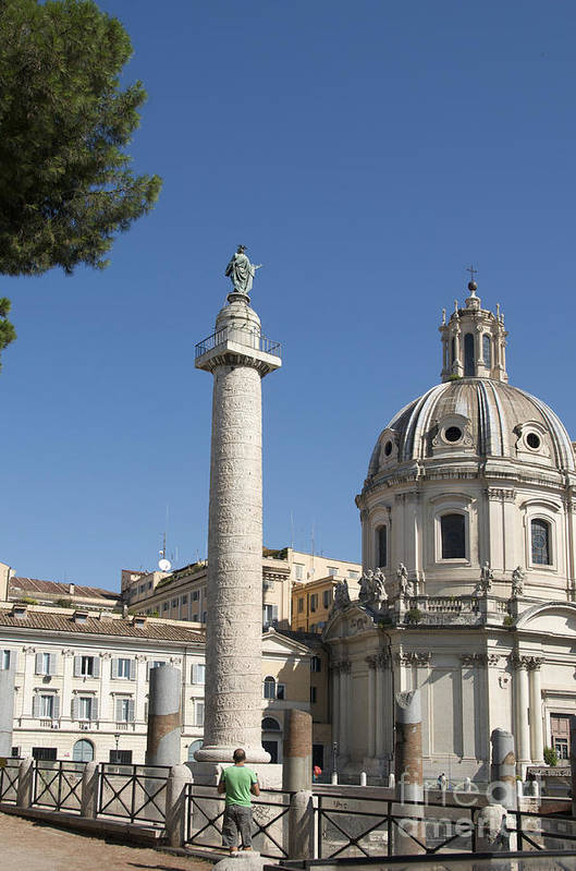 Worth Art Print featuring the photograph Imperial Fora With The Trajan's Column And The Church Santissimo Nome Di Maria. Rome by Bernard Jaubert