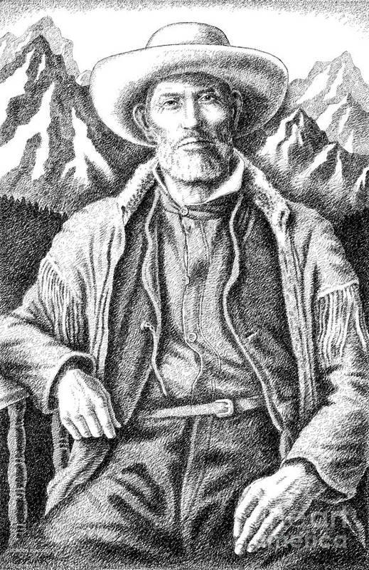 Jim Bridger Art Print featuring the drawing Jim Bridger by Gordon Punt