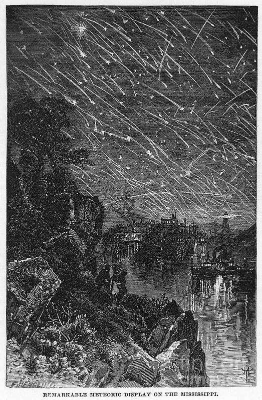 1833 Art Print featuring the photograph Leonid Meteor Shower, 1833 by Granger